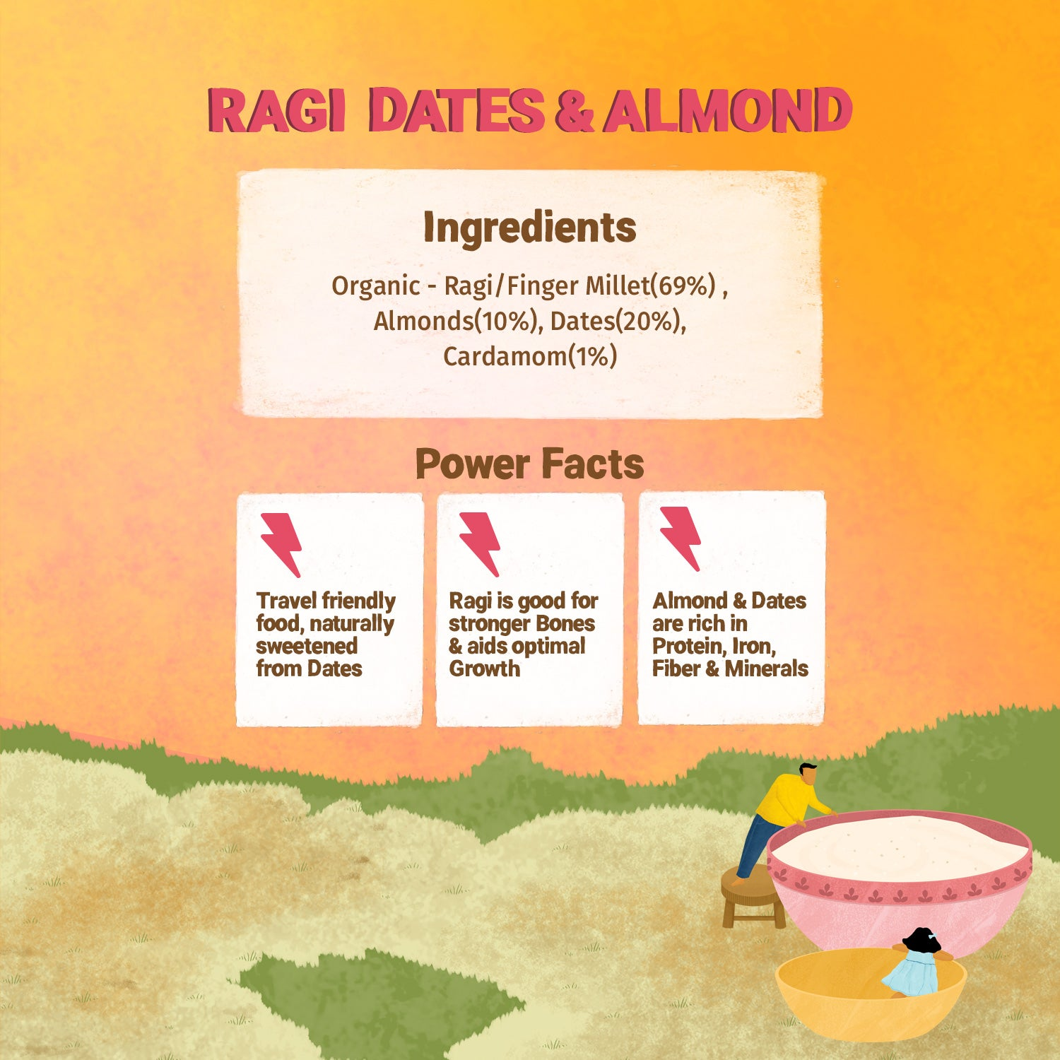 Instant Ragi Dates & Almonds - 200g