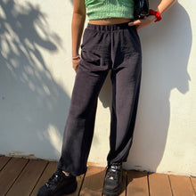 Load image into Gallery viewer, Black Aiko Velour Trousers