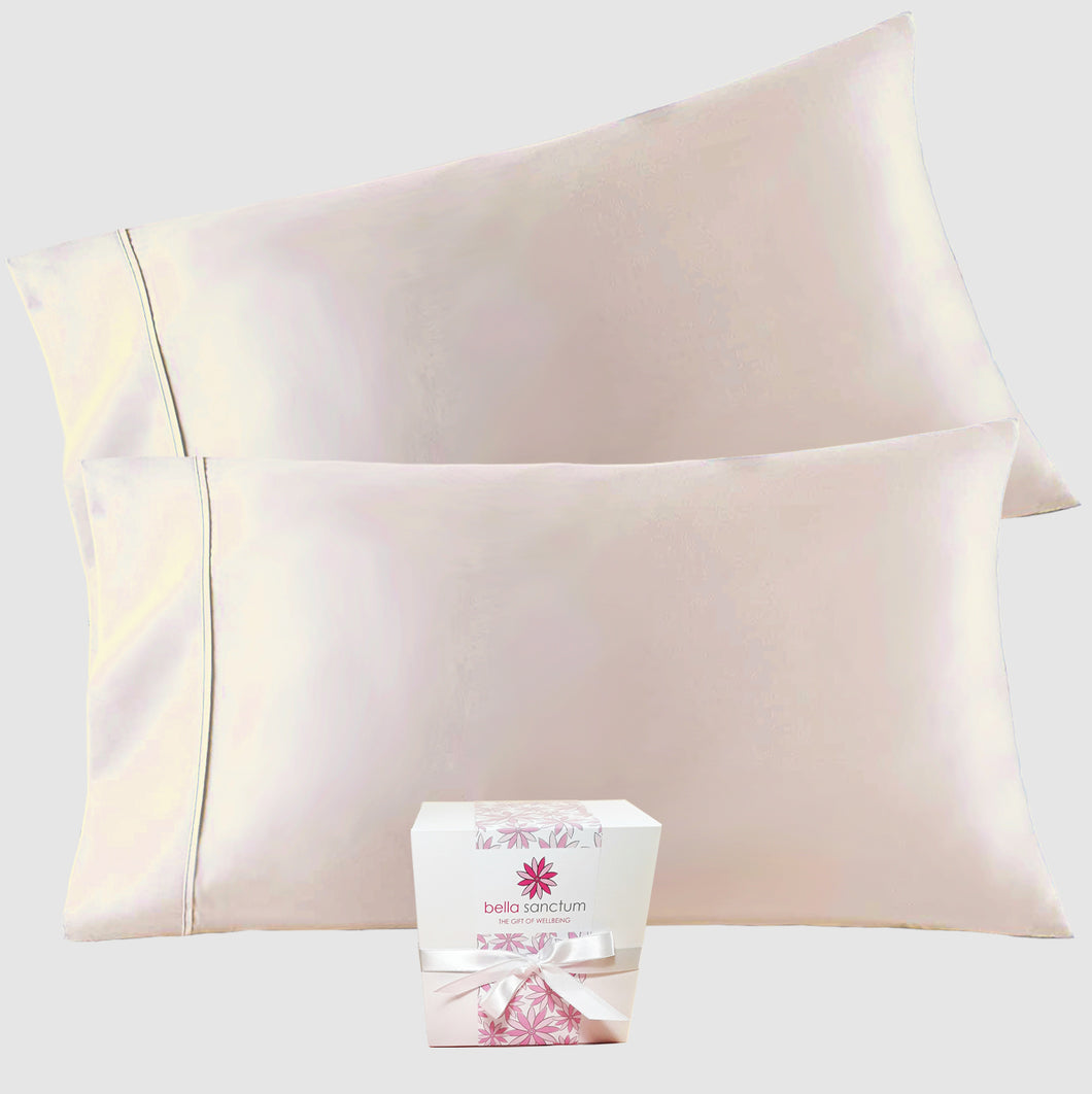Handcrafted Mulberry Silk Pillowcase - Blush Champagne