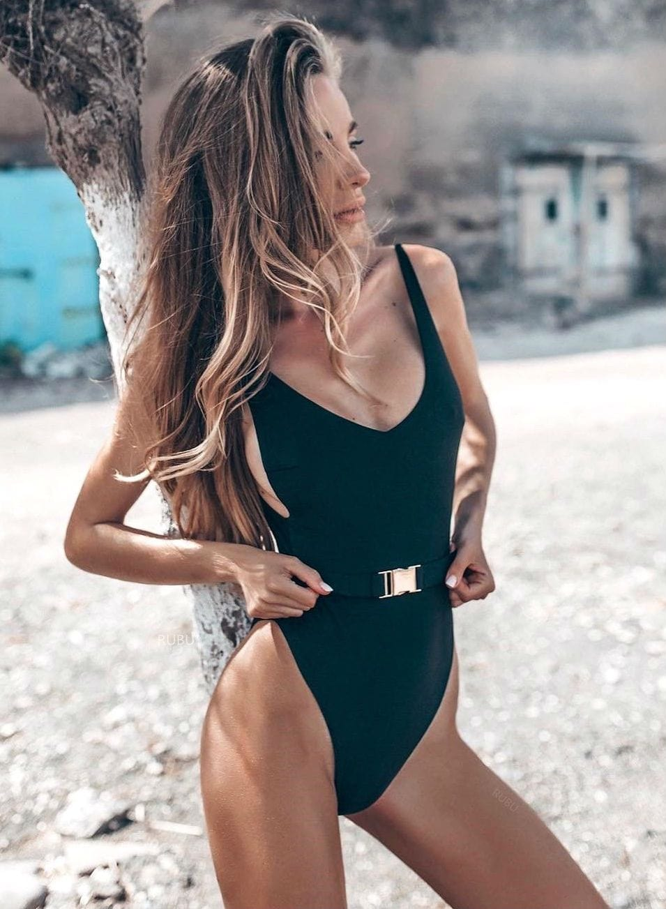 Black Belted Swimsuit