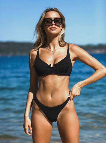 Black Ribbed Push Up Bikini