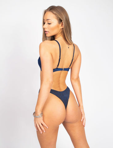 Blue Glitter Push Up Bikini