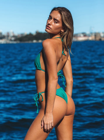 Emerald Green Tie Side Bikini Bottoms