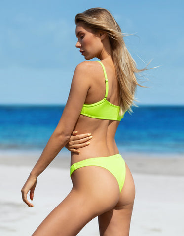 Lime Neon Ribbed Bikini Bottom