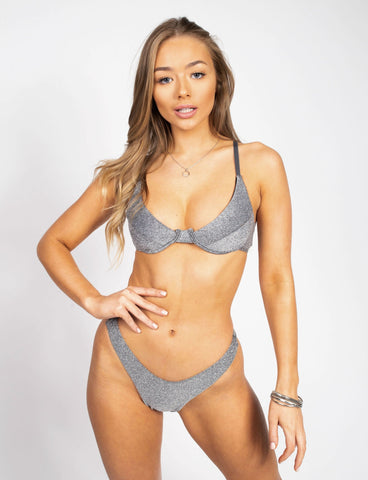 Silver Glitter Push Up Bikini