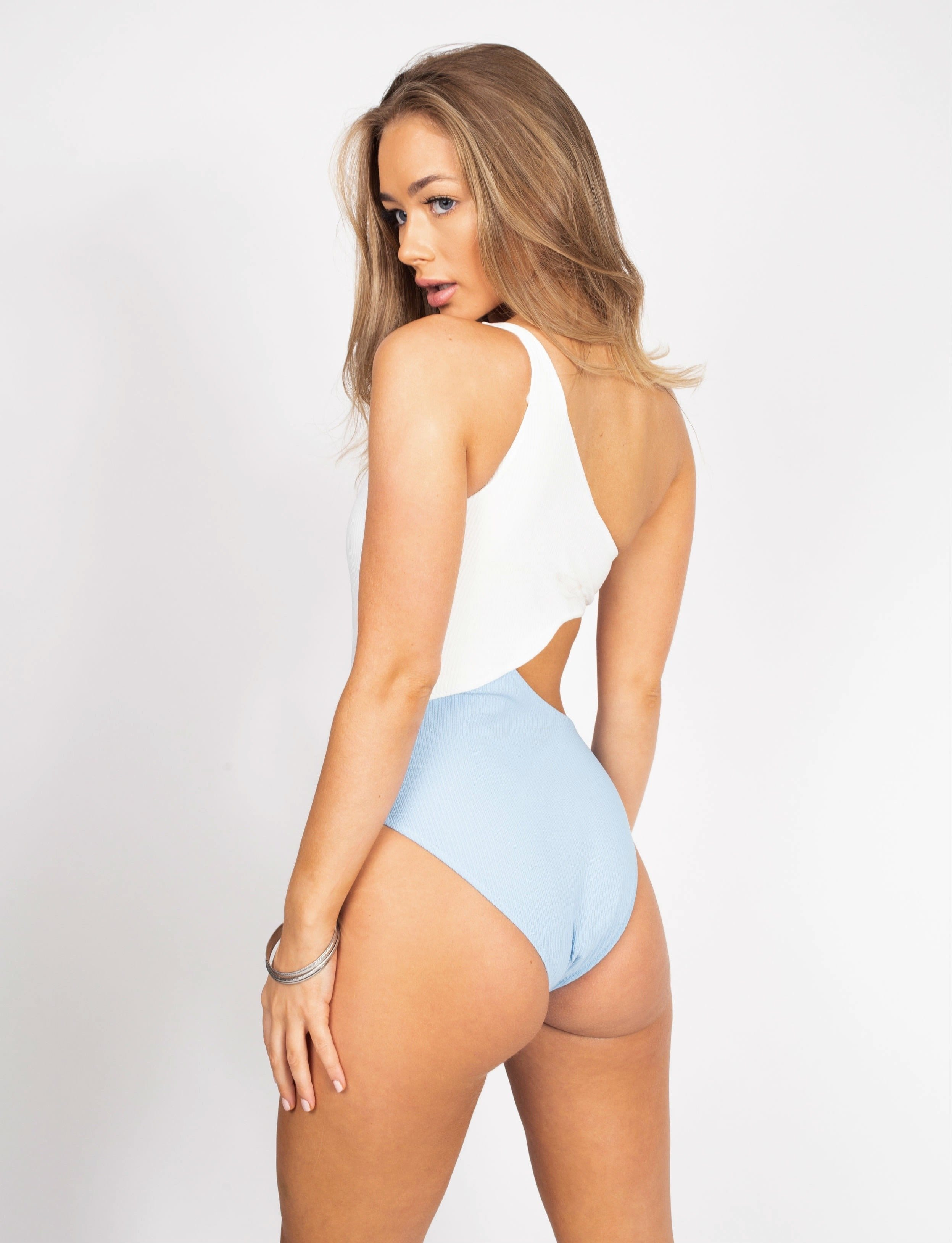 White Blue Cut Out Swimsuit