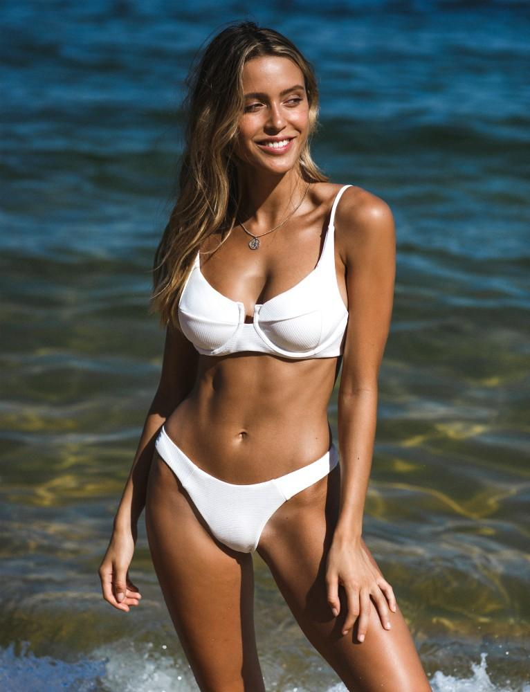 White Ribbed Push Up Bikini