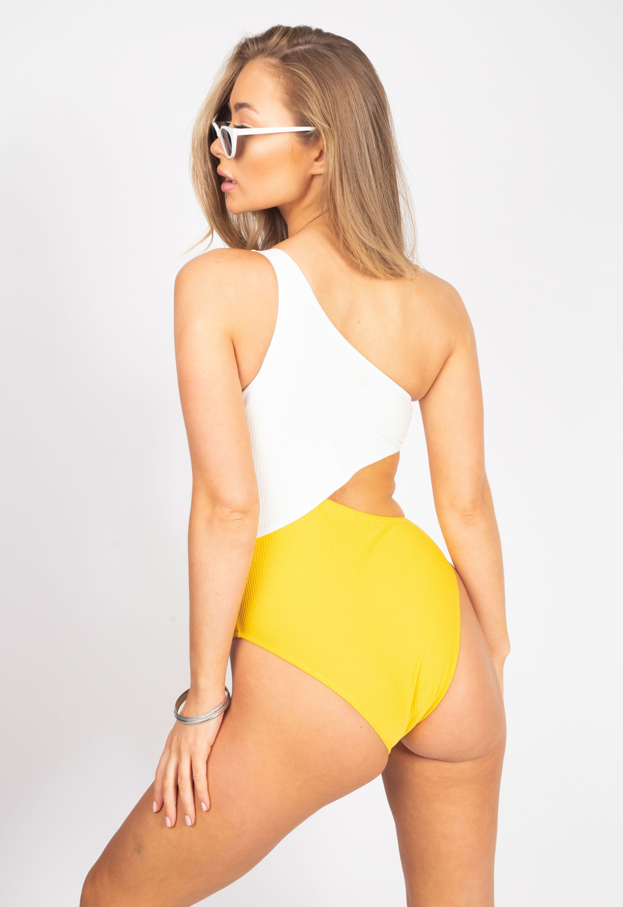 White Yellow Cut Out Swimsuit