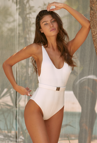 White Ribbed Belted Swimsuit