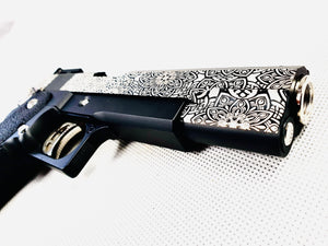 Unique Custom Laser Etched 5.1 Hi-Capa 2011 Gas Blowback Gel Blaster Pistol - Black - G02