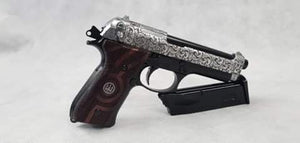 WE Tech Beretta - Custom model with engraving and premium wood handles with Beretta logo inlay on each side