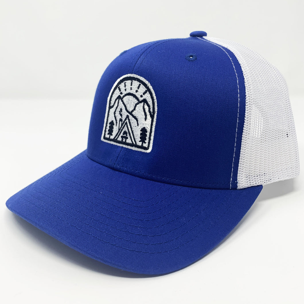 Snowy Cabin - Royal/White Mesh