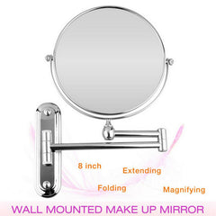 Chrome 10X Magnifying Wall Mounted Round Mirror Vanity Make Up Shaving Folding Bathroom Makeup Mirror Free Punch Wall-Mounted