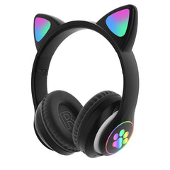 RGB Cat Ear Headphones Bluetooth 5.0 Bass Noise Cancelling Adults Kids Girl Headset Support TF Card With Mic Earphones