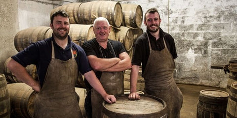 John Neilly with his apprentices Darren Leonard (L) and Ian Leonard (R) in Nephin Cooperage