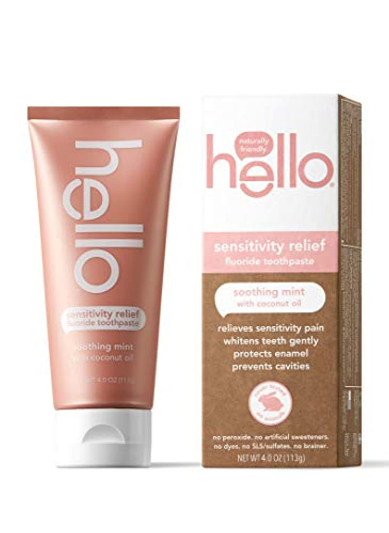 Classier: Buy Hello Oral Care Hello Oral Care Sensitivity Relief SLS Free Toothpaste with Fluoride, Soothing Mint with Coconut Oil, 4 Ounce