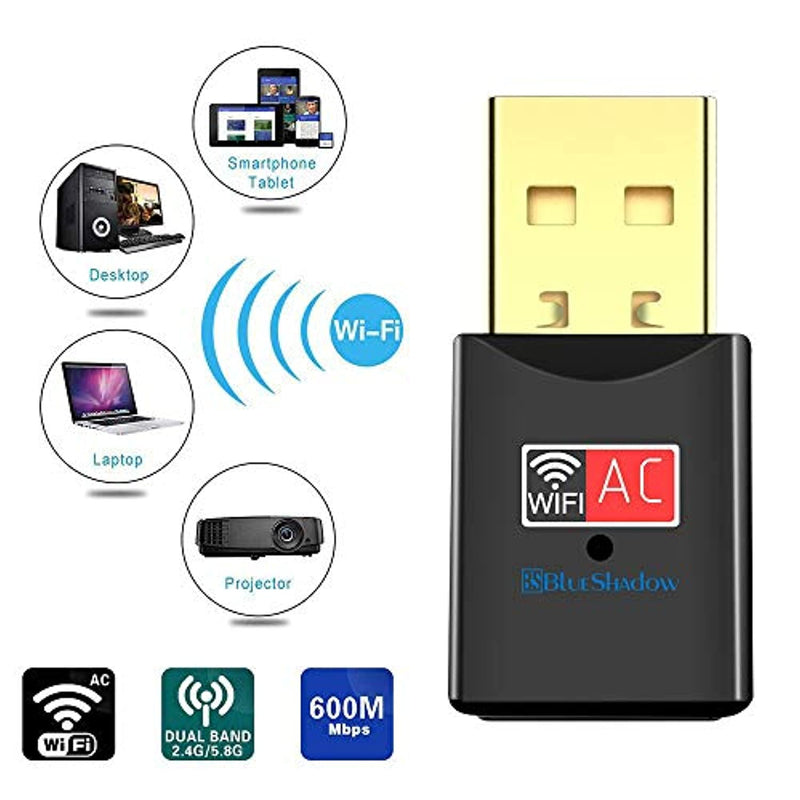 Classier: Buy Blueshadow Blueshadow USB WiFi Adapter - Dual Band 2.4G/5G Mini Wi-fi ac Wireless Network Card Dongle with High Gain Antenna for Desktop Laptop PC Support Windows XP Vista/7/8/8.1/10 (USB WiFi 600Mbps)