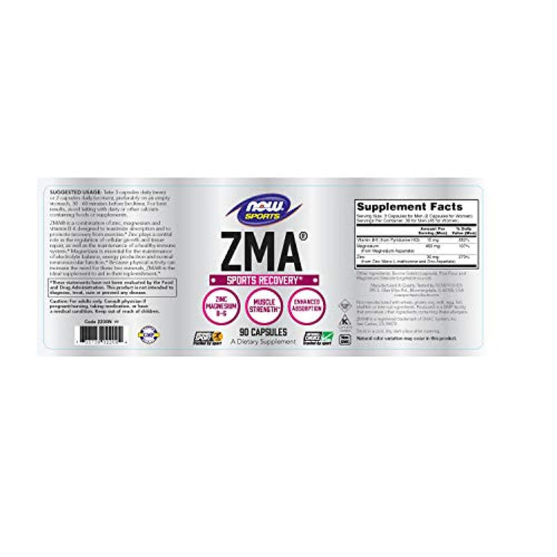 Classier: Buy NOW Foods NOW Sports Nutrition, ZMA (Zinc, Magnesium and Vitamin B-6), Enhanced Absorption, Sports Recovery*, 90 Capsules