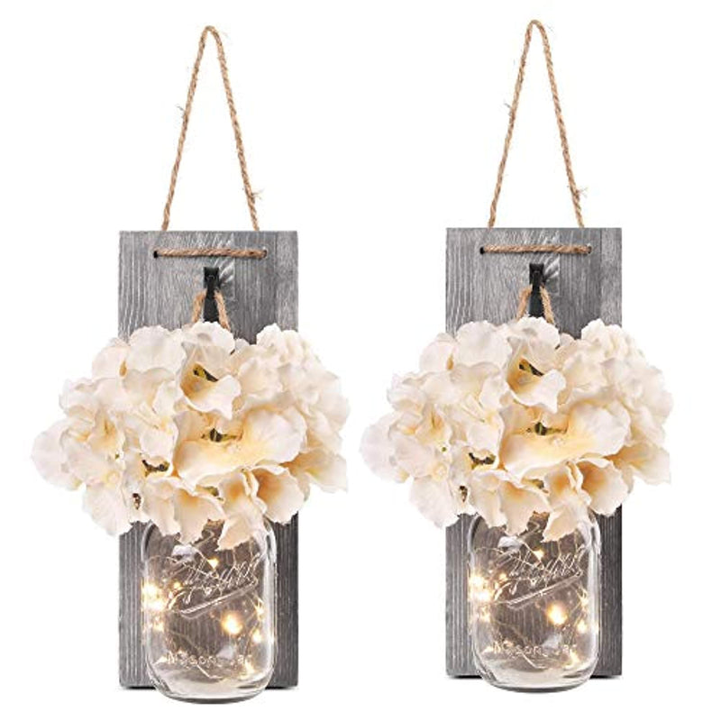 Classier: Buy Besuerte Besuerte Rustic Wooden Wall Hanging Decor with LED String Lights for Modern Living Room and Bedroom, Inspirational Country Style Vintage Wall Decoration Art, 6 Hour Timer Set of 2 Grey