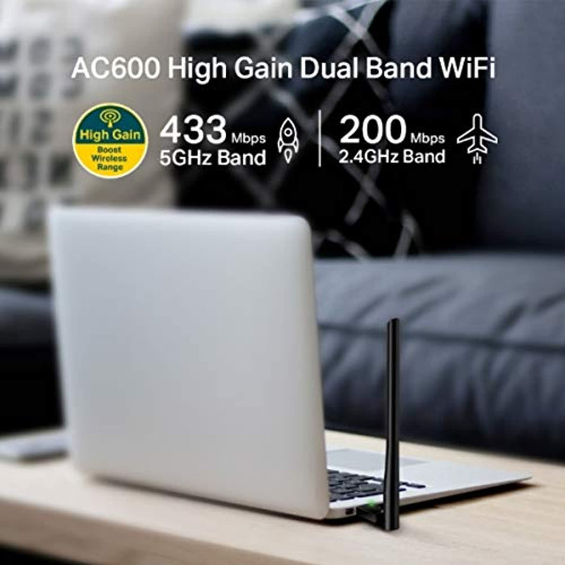 Classier: Buy TP-Link TP-Link USB Wifi Adapter for PC AC600Mbps Wireless Network Adapter for Desktop with 2.4GHz/5GHz High Gain Dual Band 5dBi Antenna, Supports Windows 10/8.1/8/7/XP, Mac OS 10.9-10.14 (Archer T2U Plus)