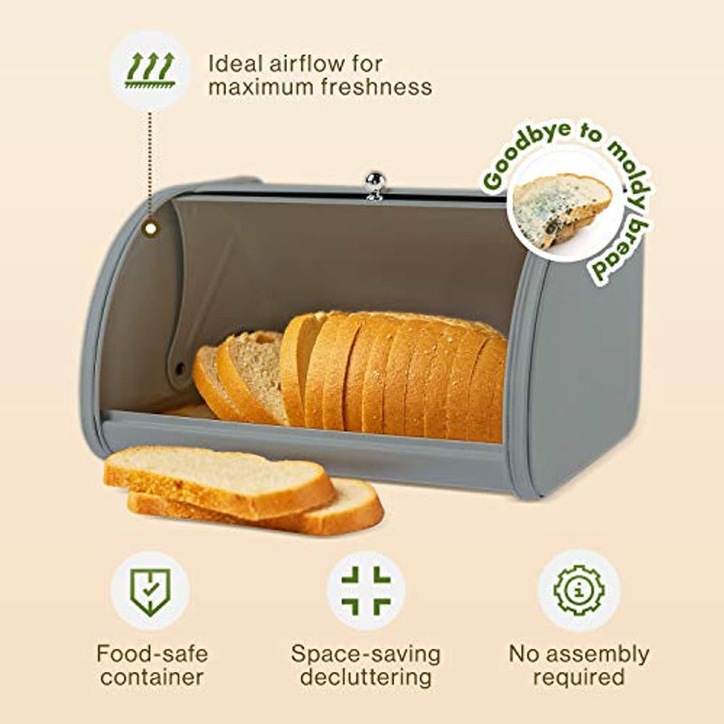 Classier: Buy ÉLEVER Bread Box for Kitchen Countertop - Farmhouse Bread Boxes For Homemade Bread, Sourdough Crock | Food Safe & Rust-Resistant | Stainless Steel Metal Holder, Large Kitchen Storage Container - Nordic Grey