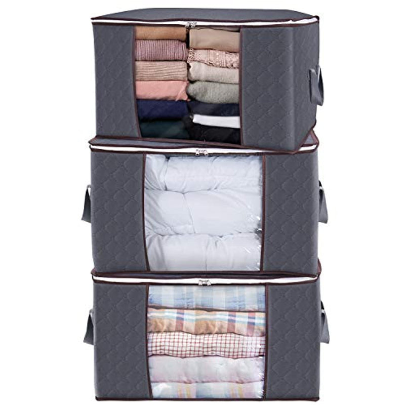 Classier: Buy Lifewit Lifewit Large Capacity Clothes Storage Bag Organizer with Reinforced Handle Thick Fabric for Comforters, Blankets, Bedding, Foldable with Sturdy Zipper, Clear Window, 3 Pack, 90L, Grey