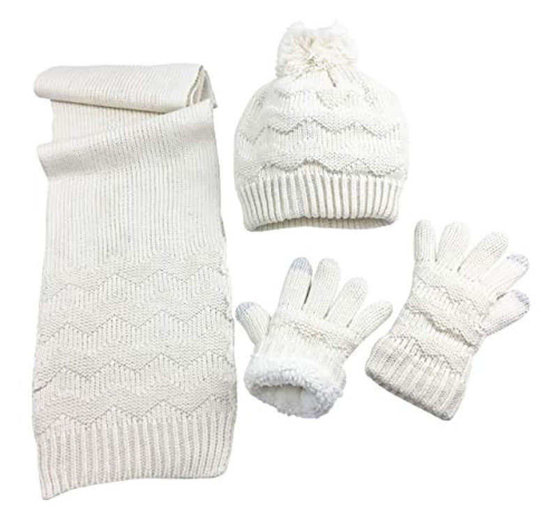 Classier: Buy N'Ice Caps N'Ice Caps Women's Sherpa Lined Cable Knit Touchscreen Glove/Hat/Scarf Set