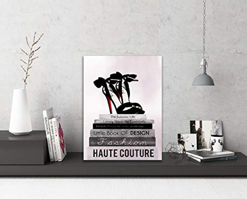 "Classier: Buy Tucai Decor Canvas Prints Glam Fashion Book Stack Black Bow Pump Heels Pictures Canvas Wall Art for Bedroom Living Room Bathroom Wall Decor Pink Background Home Decoration Modern Artwork for Walls 12""x16"""
