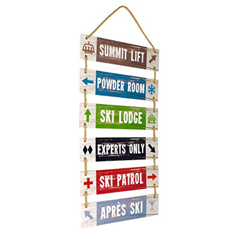 Classier: Buy Excello Global Products Excello Global Products Large Hanging Wall Sign: Rustic Wooden Decor (Summit Lift, Powder Room, Ski Lodge, Experts Only, Ski Patrol, Apres Ski) Hanging Wood Wall Decoration