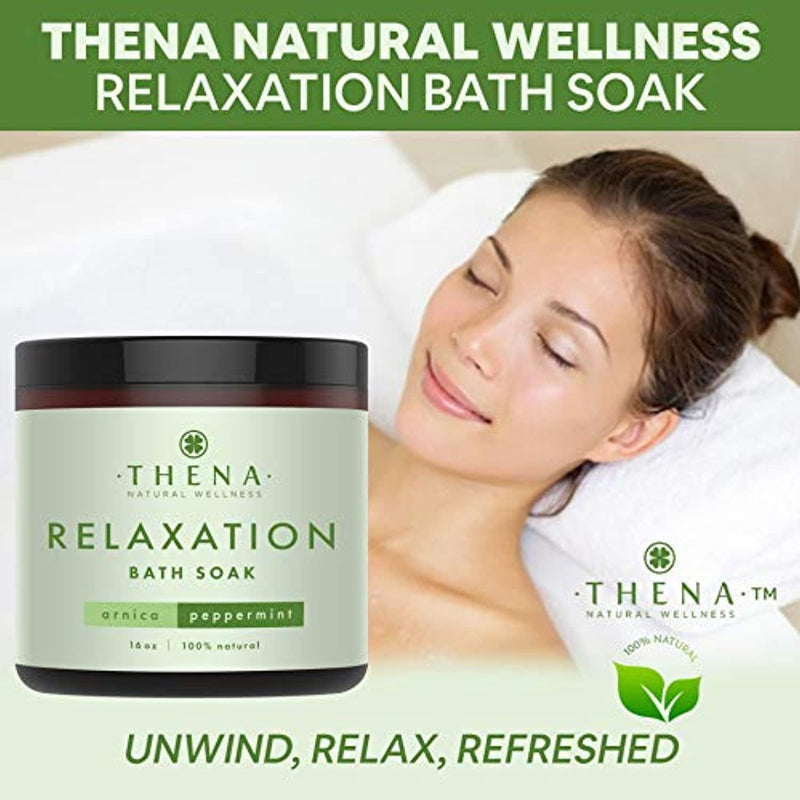 Classier: Buy THENA Natural Wellness Organic Muscle Soak for Relaxation with Stress Relief Aromatherapy Essential Oils Arnica Peppermint Eucalyptus, Top Best Natural Dead Sea Bath Salts for Soaking Foot Home SPA Relaxing Gifts Women Men