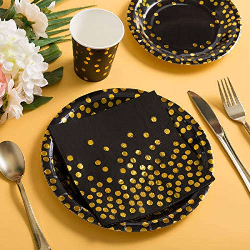 Classier: Buy Homix Black and Gold Party Supplies 175 Pieces Golden Dot Disposable Party Dinnerware - Black Paper Plates Napkins Cups, Gold Plastic Forks Knives Spoons for Graduation, Birthday, Cocktail Party