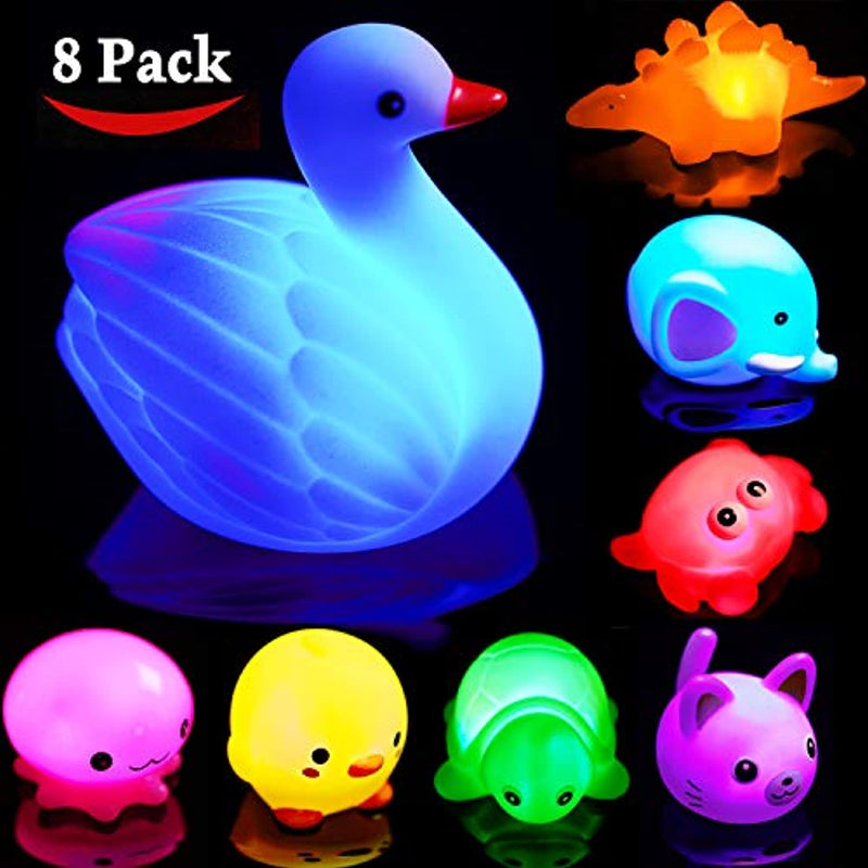 Classier: Buy HLXY Bath Toys for Toddlers Baby 8 Pack Light Up Toys - Bathtub Toy Flashing Colourful LED Light Shower Bathtime For Kids Infants Toddler Child Preschool Bathtub Bathroom Shower Games Swimming Pool Party