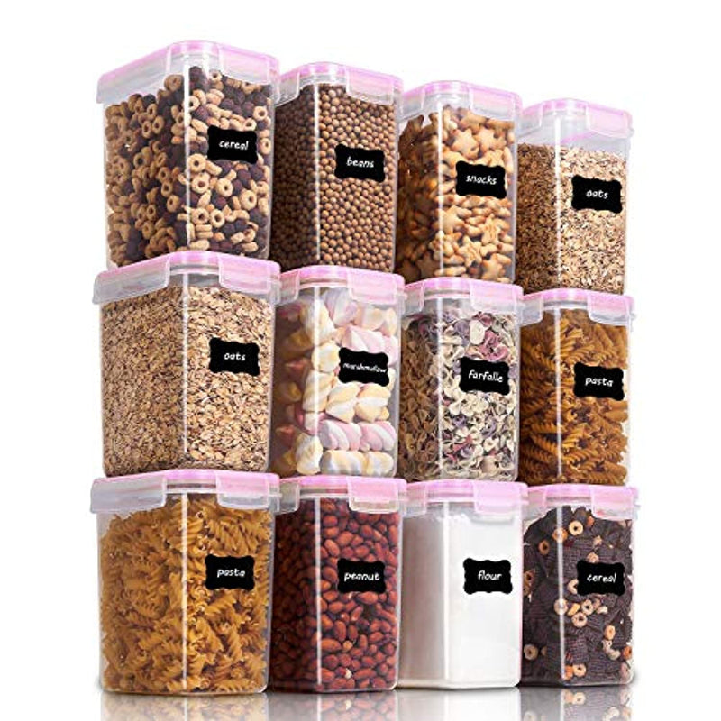 Classier: Buy Vtopmart Vtopmart Airtight Food Storage Containers 12 Pieces 1.5qt / 1.6L- Plastic PBA Free Kitchen Pantry Storage Containers for Sugar, Flour and Baking Supplies - Dishwasher Safe - Include 24 Labels, Pink