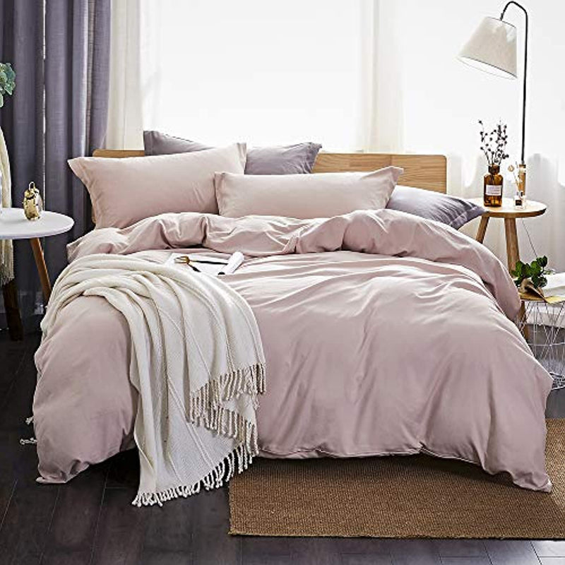 Classier: Buy Dreaming Wapiti Dreaming Wapiti Duvet Cover Queen,100% Washed Microfiber 3pcs Bedding Duvet Cover Set,Solid Color Soft and Breathable with Zipper Closure & Corner Ties(Pink Mocha,Queen)