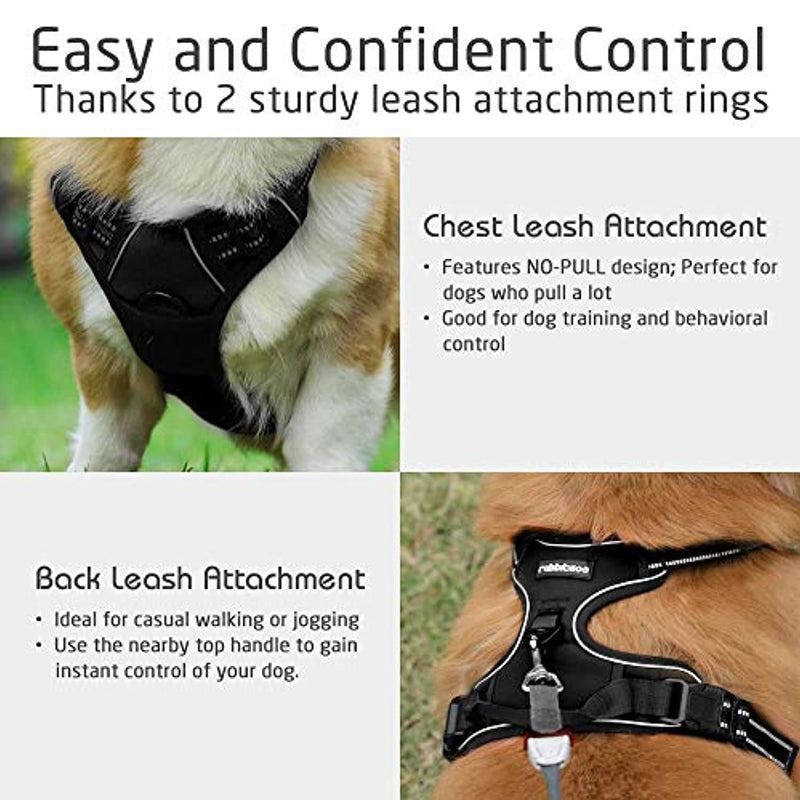 "Classier: Buy rabbitgoo rabbitgoo Dog Harness, No-Pull Pet Harness with 2 Leash Clips, Adjustable Soft Padded Dog Vest, Reflective No-Choke Pet Oxford Vest with Easy Control Handle for Large Dogs, Black, L (Chest 20.5-36"")"