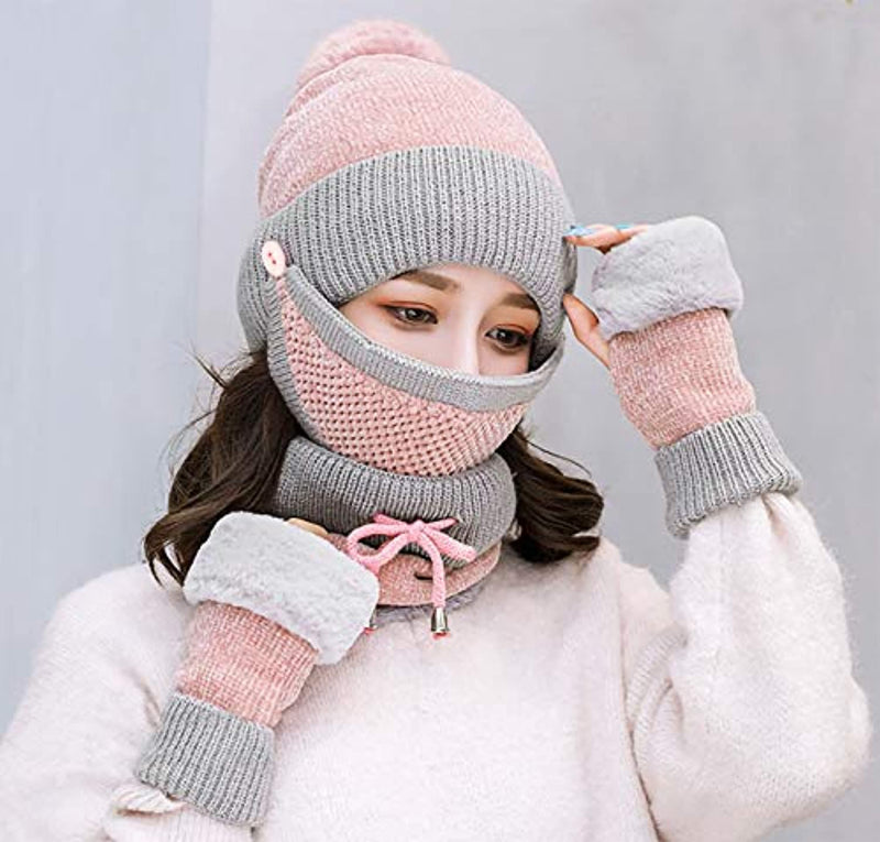 Classier: Buy Bellady Bellady Winter Slouchy Beanie Cap with Mask Loop Scarf and Gloves Set 4pcs for Women