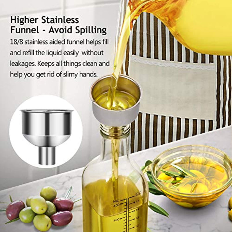 Classier: Buy AOZITA [2 PACK]Aozita 17 oz Glass Olive Oil Dispenser Bottle Set - 500ml Clear Oil & Vinegar Cruet Bottle with Pourers, Funnel and Labels - Olive Oil Carafe Decanter for Kitchen