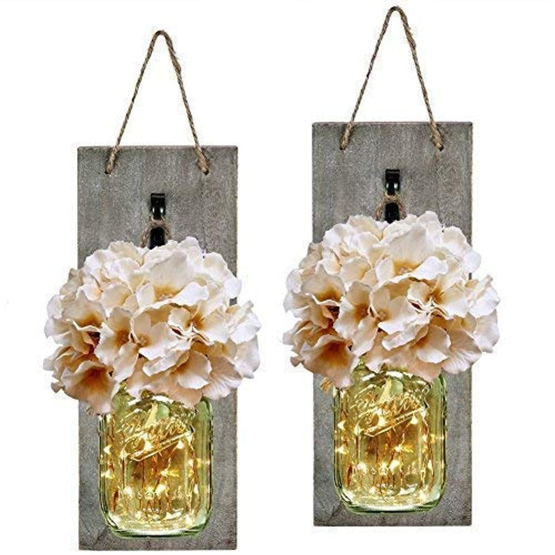 Classier: Buy HABOM HABOM Rustic Mason Jar Wall Decor Sconces - Decorative Home Lighted Country House Hanging with LED Fairy Strip Lights and Flowers Hydrangea Farmhouse Sconce Jars (Set of 2)