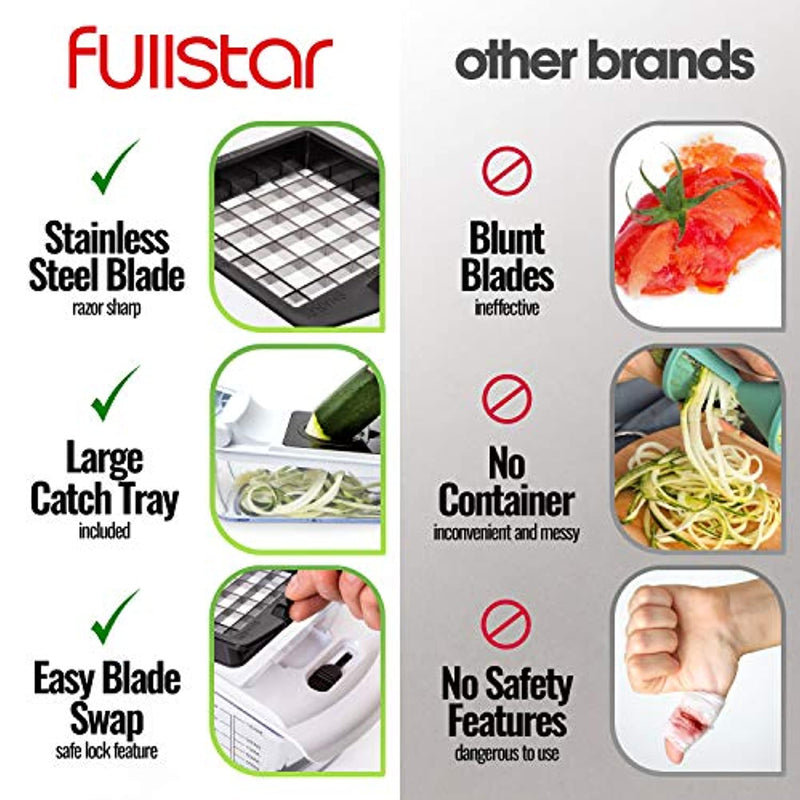 Classier: Buy fullstar Fullstar Vegetable Chopper - Spiralizer Vegetable Slicer - Onion Chopper with Container - Pro Food Chopper - Slicer Dicer Cutter - 4 Blades