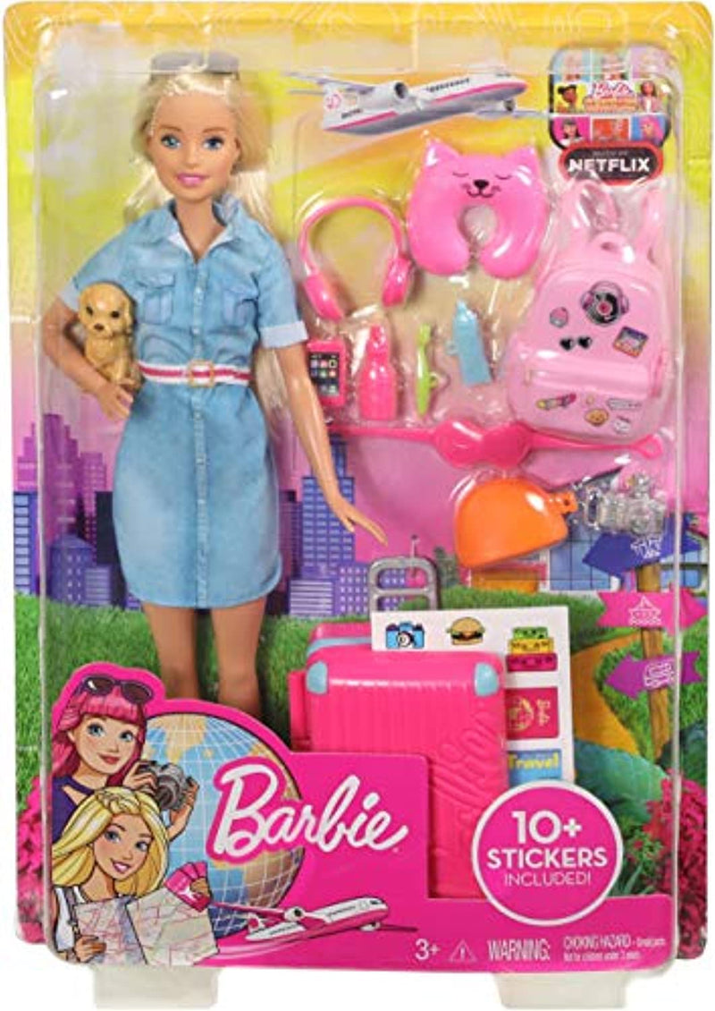 Classier: Buy Barbie Barbie Travel Doll, Blonde, with Puppy, Opening Suitcase, Stickers and 10+ Accessories, for 3 to 7 Year Olds, Multicolor