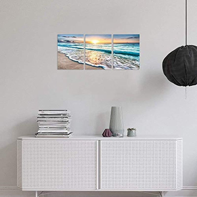 Classier: Buy TutuBeer TutuBeer 3 Panel Beach Canvas Wall Art for Home Decor Blue Sea Sunset White Beach Painting The Picture Print On Canvas Seascape The Pictures for Home Decor Decoration,Ready to Hang
