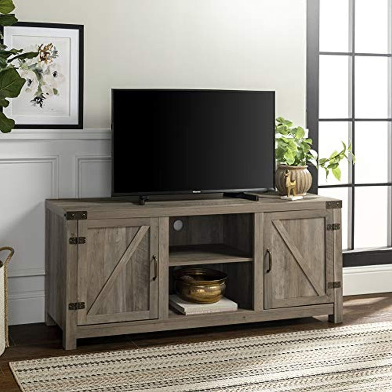 "Classier: Buy Walker Edison Furniture Company Walker Edison Furniture Company Farmhouse Barn Wood Universal Stand for TV's up to 64"" Flat Screen Living Room Storage Cabinet Doors and Shelves Entertainment Center, 58 Inch, Grey Wash"
