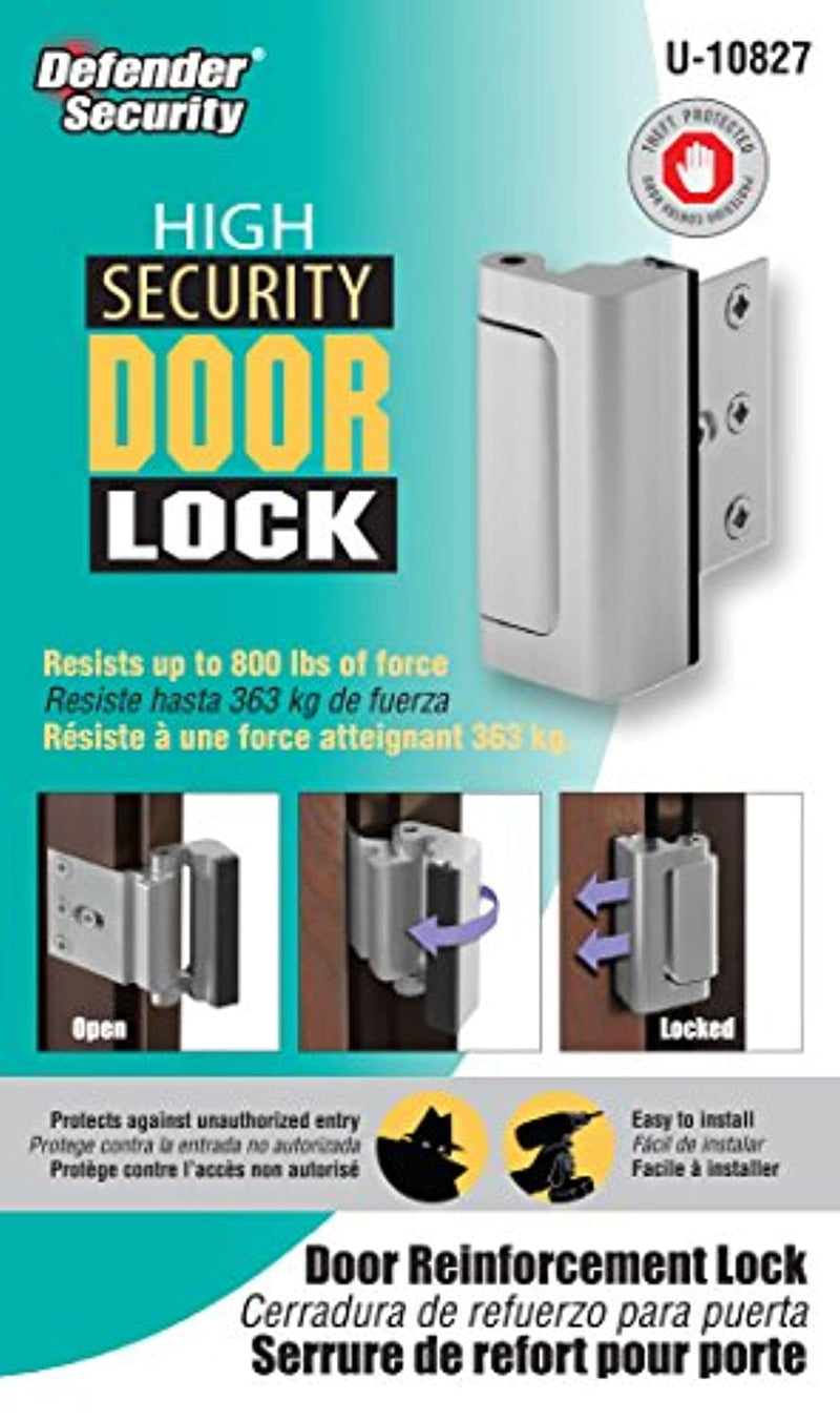 "Classier: Buy Defender Security Defender Security Satin Nickel U 10827 Door Reinforcement Lock – Add Extra, High Security to your Home and Prevent Unauthorized Entry – 3"" Stop, Aluminum Construction Finish"