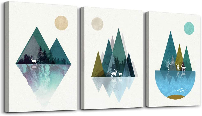 Classier: Buy MHARTK66 Blue abstract Mountains and animals geometry Canvas Prints Wall Art Paintings,3 piece bathroom Wall decor for Bedroom,Wall Artworks Pictures for Living Room Home Decoration posters 12x16 inch