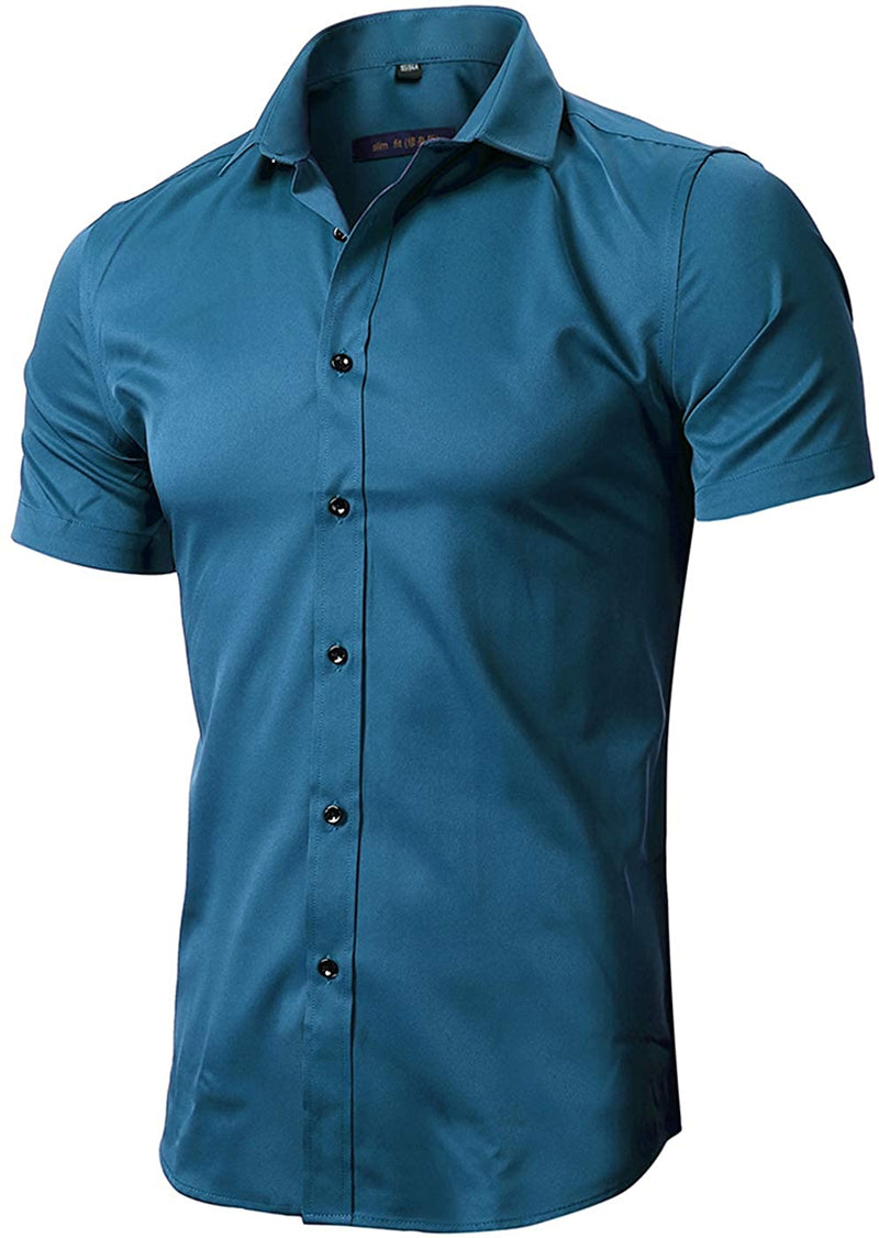 Classier: Buy FLY HAWK FLY HAWK Mens Dress Shirts, Fitted Bamboo Fiber Short Sleeve Elastic Casual Button Down Shirts
