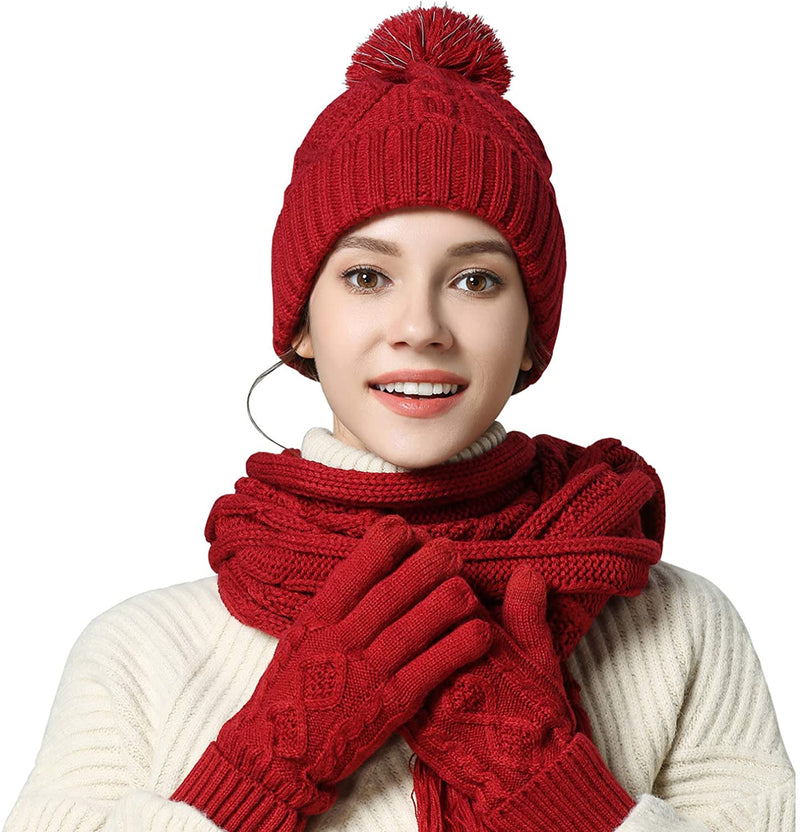 Classier: Buy VanRolldex Warm Scarf Glove Hat Beanie Set - Cable Knit Winter Gift Set Pom Cap Touch Screen Glove Long Scarf 3 PCS Set for Women