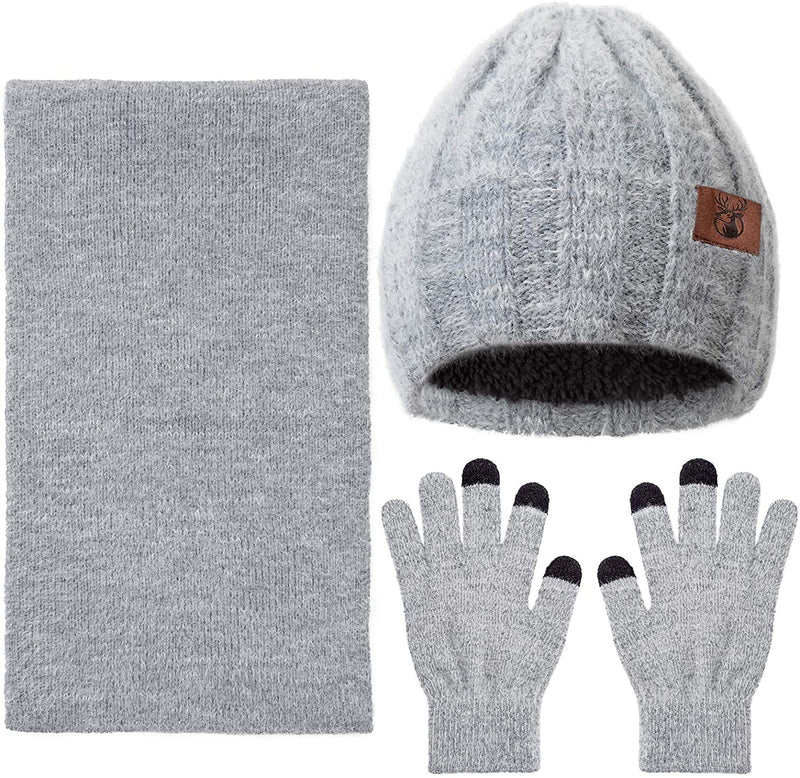 Classier: Buy yeabiu yeabiu 3 PCS Winter Scarf Glove Hat Beanie Set Touch Screen Gloves Knitted Cap Set for Men Women
