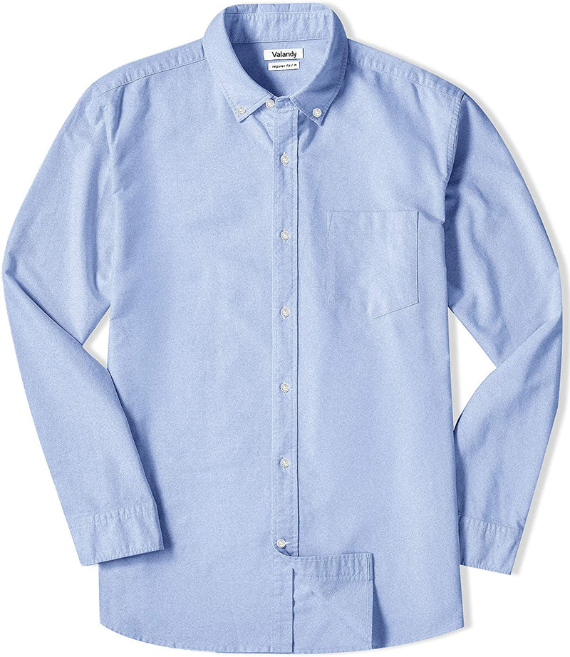 Classier: Buy VALANDY VALANDY Mens Oxford Shirts Regular Fit Long Sleeve Casual Bottom Down Shirts Solid Plaid Stripe