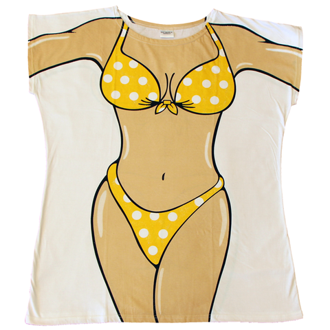 Yellow Polka Dot Women's Cover Up from Body Dreams Australia
