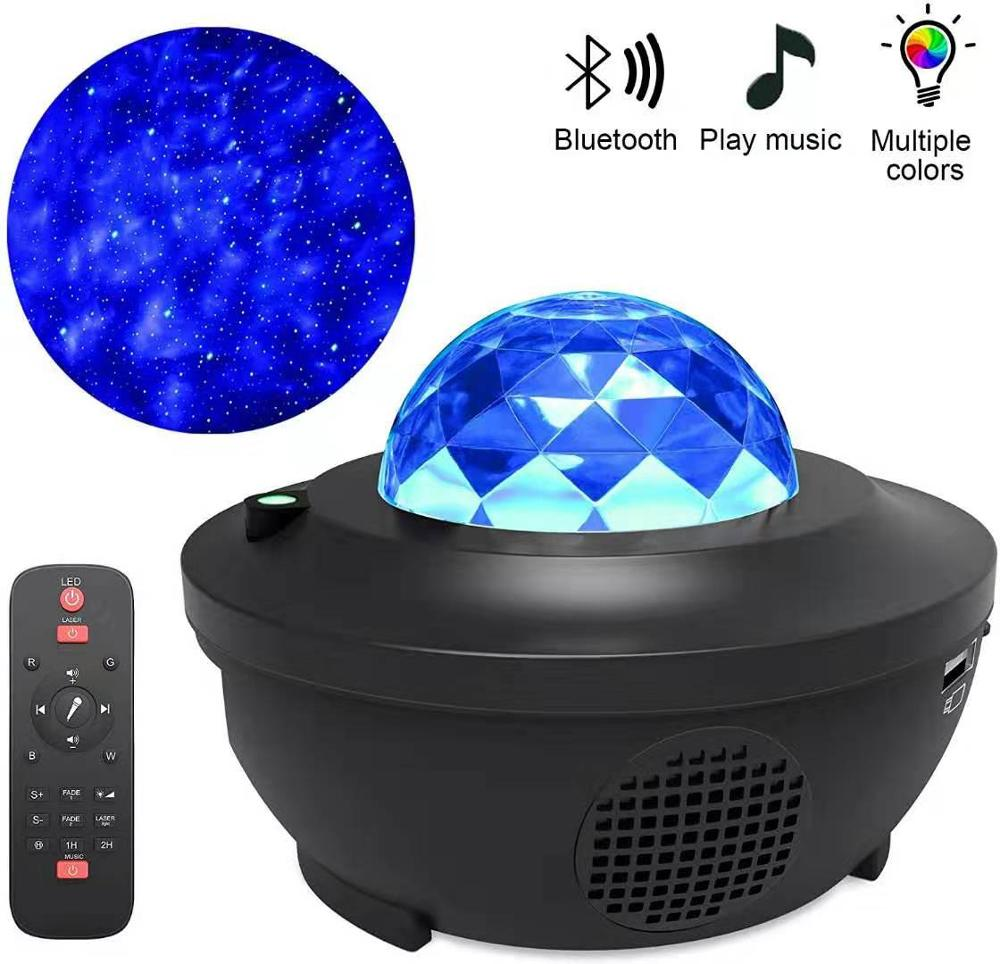 LED Galaxy Projector Ocean Wave LED Night Light Music Player Remote Star Rotating Night Light Luminaria For kid Bedroom Lamp